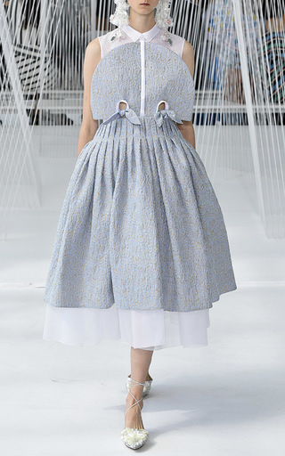 Organdi And Jacquard Sleeveless Dress by DELPOZO for Preorder on Moda Operandi