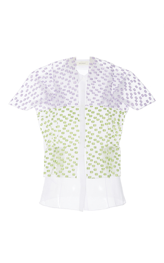 Medium delpozo multi short sleeve textured blouse