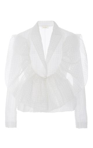 Medium delpozo white textured jacket with frills 2