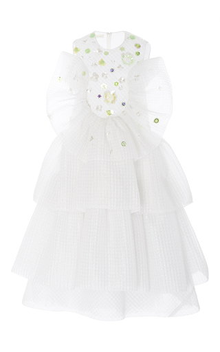 Medium delpozo white sleeveless triple layered frill dress