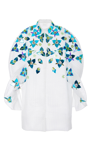 Medium delpozo multi embellished coat with frills