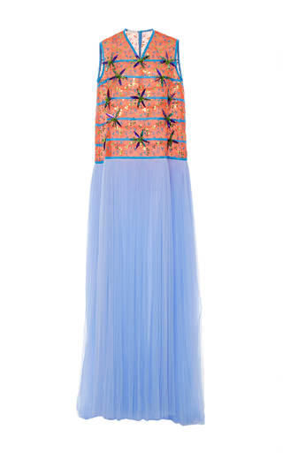 Medium delpozo multi sleeveless embroidered tulle gown