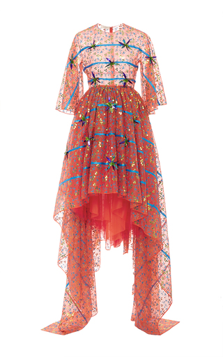 Medium delpozo multi asymmetrical embroidered gown