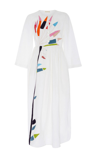 Medium mara hoffman white embroidered open front midi dress