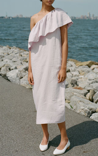 One Shoulder Ruffle Midi Dress by MARA HOFFMAN for Preorder on Moda Operandi