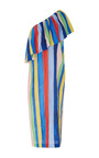 Rainbow One Shoulder Ruffle Midi Dress by MARA HOFFMAN for Preorder on Moda Operandi