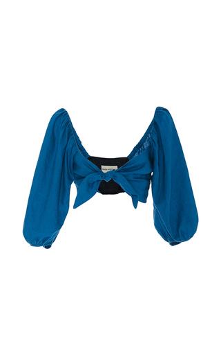 Blouson Tie Front Crop Top by MARA HOFFMAN for Preorder on Moda Operandi