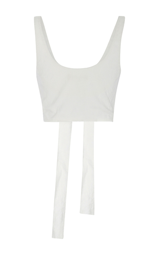 Lace Up Crop Bustier Top by MARA HOFFMAN for Preorder on Moda Operandi