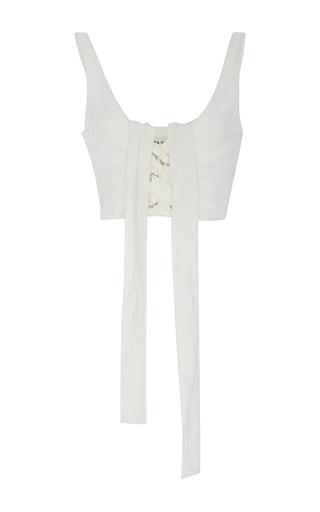 Medium mara hoffman white lace up crop bustier top