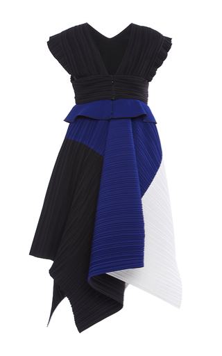 Pleated Crepe Color Blocked Midi Dress by PROENZA SCHOULER for Preorder on Moda Operandi