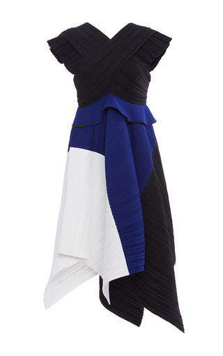 Medium proenza schouler black pleated crepe color blocked midi dress