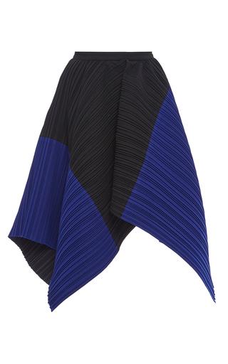 Medium proenza schouler blue pleated crepe color blocked asymmetrical skirt 3