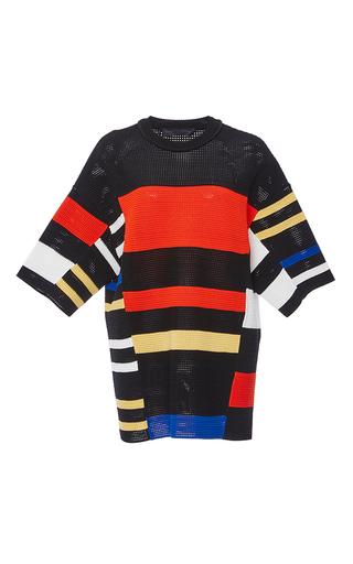 Medium proenza schouler black short sleeve striped crochet top