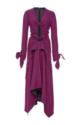 Medium proenza schouler print long sleeve printed knot dress