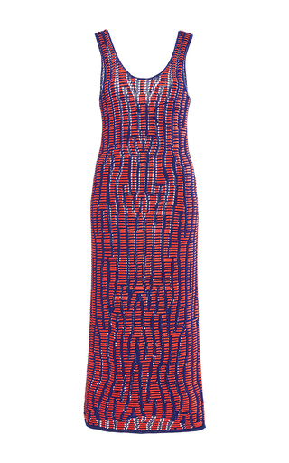 Sleeveless Leather Laced Knit Straight Dress by PROENZA SCHOULER for Preorder on Moda Operandi