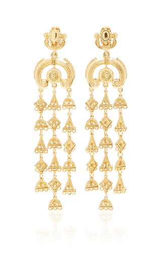 Medium oscar de la renta gold ornate charm chandelier c earring in gold