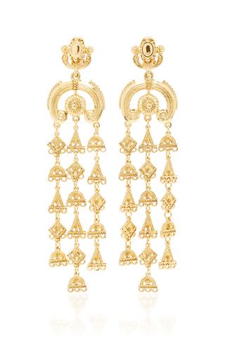 Medium oscar de la renta gold ornate charm chandelier c earring in gold