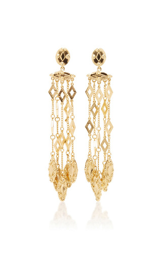 Medium oscar de la renta gold diamond tassle c earring