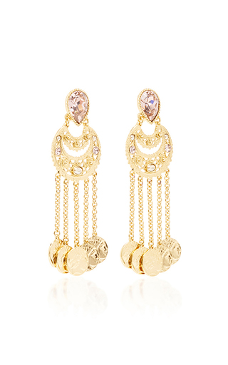 Crystal Filigree C Coin Drop Earring by OSCAR DE LA RENTA for Preorder on Moda Operandi