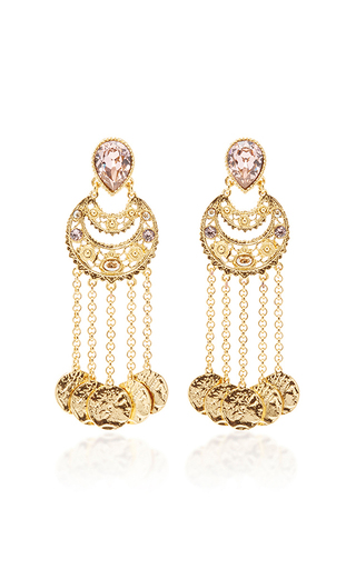 Medium oscar de la renta pink crystal filigree c coin drop earring
