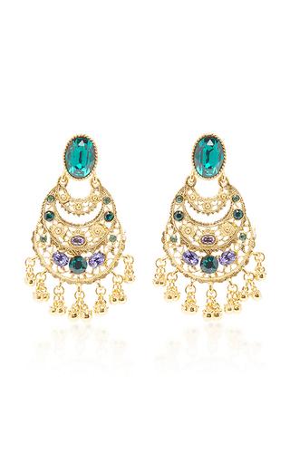 Medium oscar de la renta green crystal filigree c earring