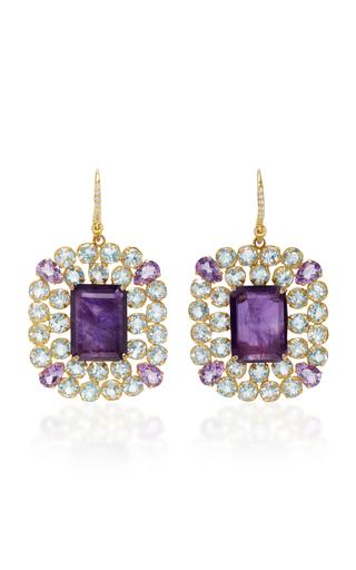 Medium bounkit purple amethyst and blue quartz earrings