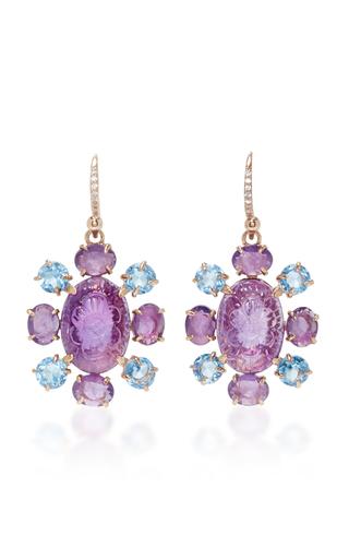 Medium bounkit purple carved amethyst and blue quartz earrings