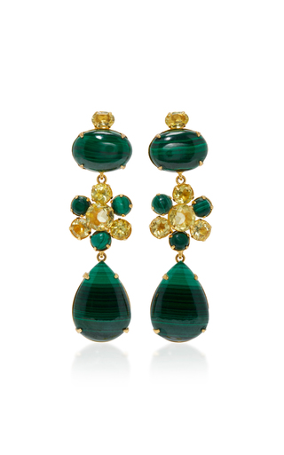 Medium bounkit green malachite and lemon quartz four way earrings