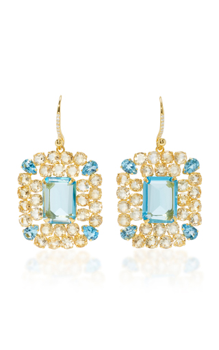 Medium bounkit blue blue quartz and citrine earrings