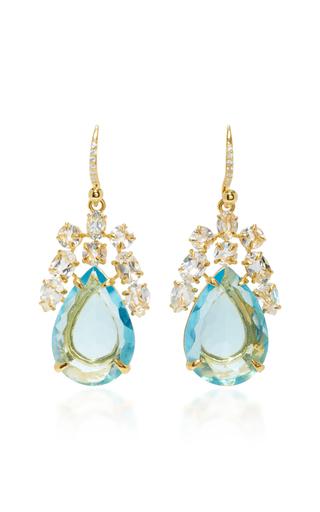 Medium bounkit blue blue and clear quartz earrings