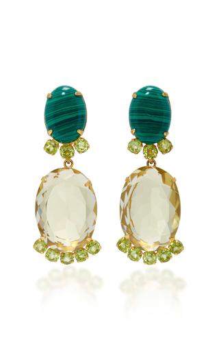 Medium bounkit green lemon quartz and peridot two way earrings