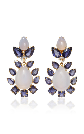 Medium bounkit blue chalcedony and clear quartz convertible two way earrings