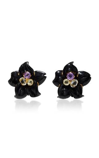 Medium bounkit black black calcite flower earrings