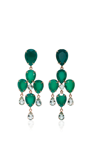 Medium bounkit green green onyx and amethyst two way earrings