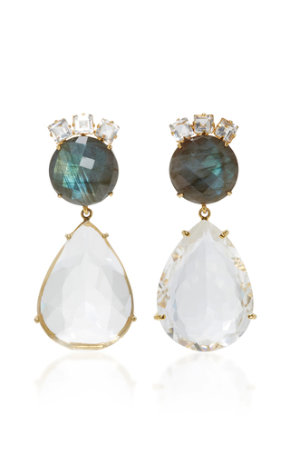 Medium bounkit white labradorite and clear quartz two way earrings