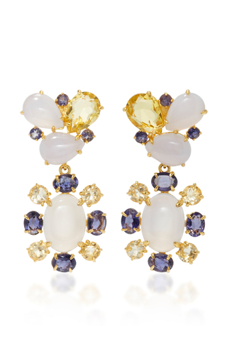 Medium bounkit blue chalcedony and lemon quartz two way earrings