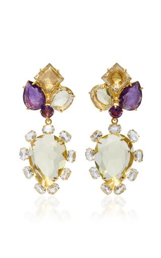 Medium bounkit yellow lemon quartz and clear quartz brass two way earrings