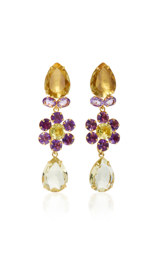 Medium bounkit purple amethyst and lemon quartz four way earrings