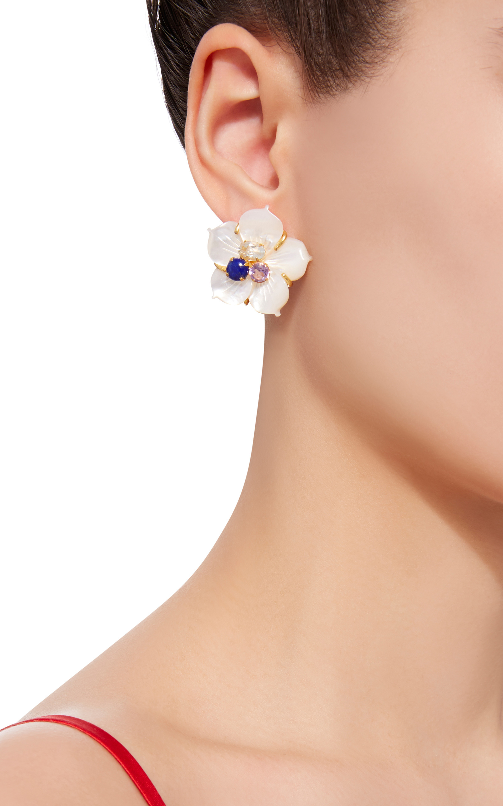 of plated img four statement chunky stud petal ave large meridian copy earrings flower chain products gold