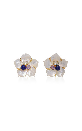 Medium bounkit pink 14k gold multi stone flower earrings