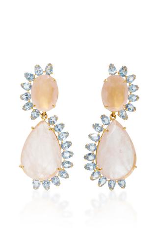 Medium bounkit pink rose and blue quartz two way earrings