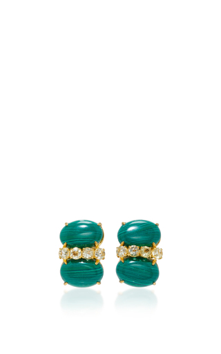 Medium bounkit green malachite and lemon quartz earrings