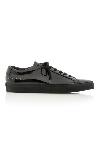 Medium common projects  2 black achilles patent leather sneakers