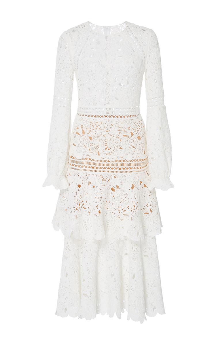 b2db80eed52 Oscar de la RentaLong Sleeve Tiered Dress. CLOSE. Loading