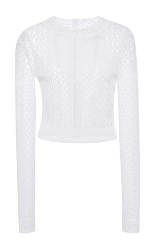 Medium oscar de la renta white long sleeve jewel neck knit top