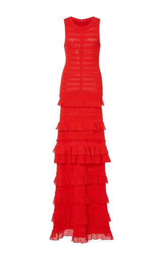 Medium oscar de la renta red sleeveless jewel neck tiered ruffle gown