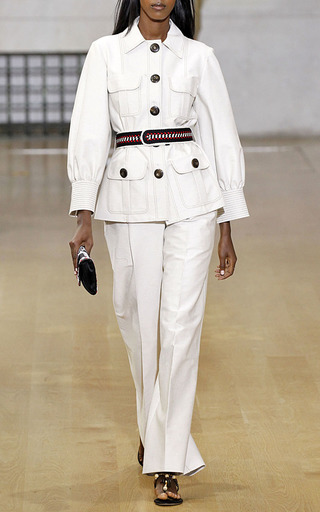 Three Quarter Sleeve Safari Jacket by OSCAR DE LA RENTA for Preorder on Moda Operandi