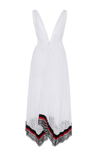 Medium oscar de la renta white sleeveless deep v neck pleated dress
