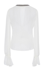 Long Sleeve Open Front Wrap Blouse by OSCAR DE LA RENTA for Preorder on Moda Operandi