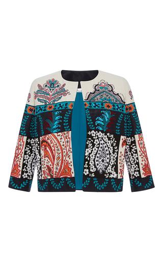 Medium oscar de la renta multi long sleeve jewel neck paisley jacket
